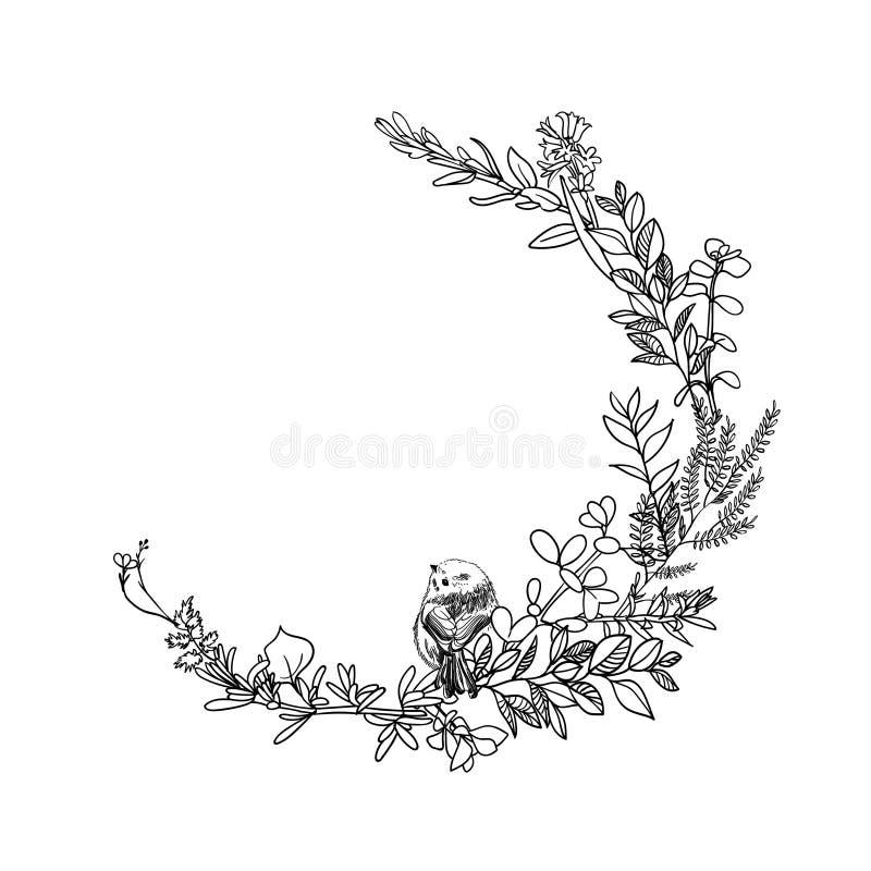 Uppsättning av det blom- bandbanret Hand drog blom- baner för vektortappning Skissa färgpulverillustrationen Baner med sidor, blo royaltyfri illustrationer