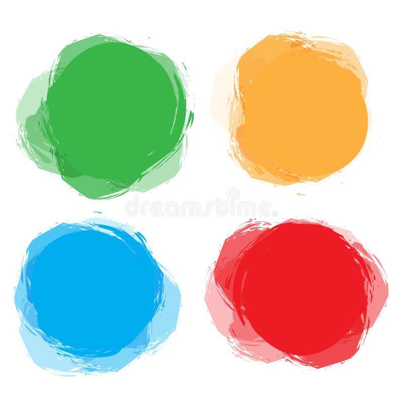 Uppsättning av det färgrika cirkuläret, abstrakta baner för runda Mall för design och degtext Grafisk banerdesign royaltyfri illustrationer