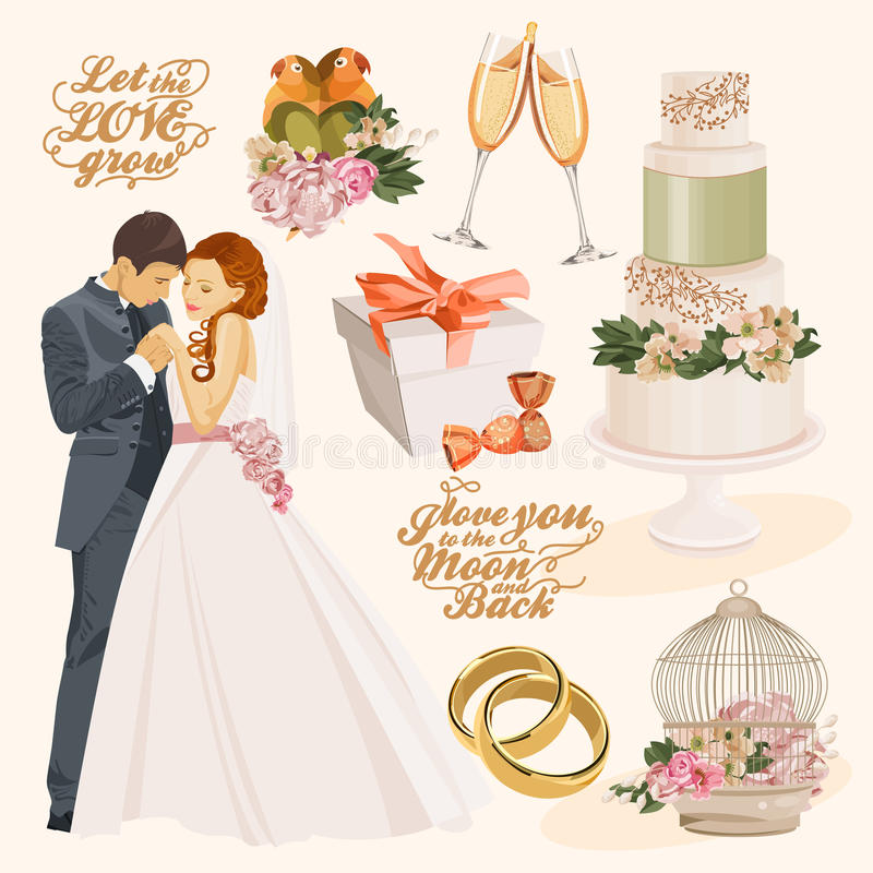 Uppsättning av det färgrika dekorerade lagret för vektor med bruden och brudgummen stock illustrationer