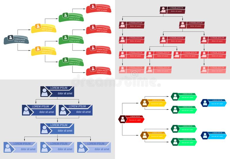 Uppsättning av det färgrika strukturbegreppet för affär fyra royaltyfri illustrationer