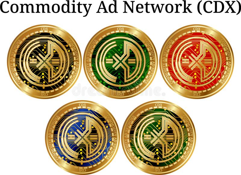 Uppsättning av det fysiska guld- myntArtikel-Annons-nätverket CDX, digital cryptocurrency Artikel-Annons-nätverk CDX symbolsuppsä stock illustrationer