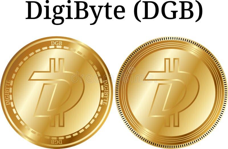 Uppsättning av det fysiska guld- myntet DigiByte DGB, digital cryptocurrency DigiByte DGB symbolsuppsättning vektor illustrationer