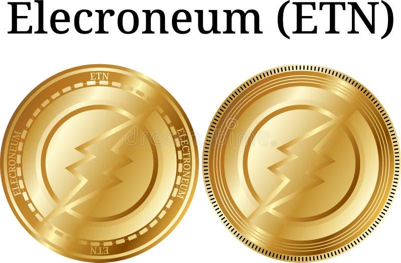 Uppsättning av det fysiska guld- myntet Elecroneum ETN, digital cryptocurrency Elecroneum ETN symbolsuppsättning vektor illustrationer