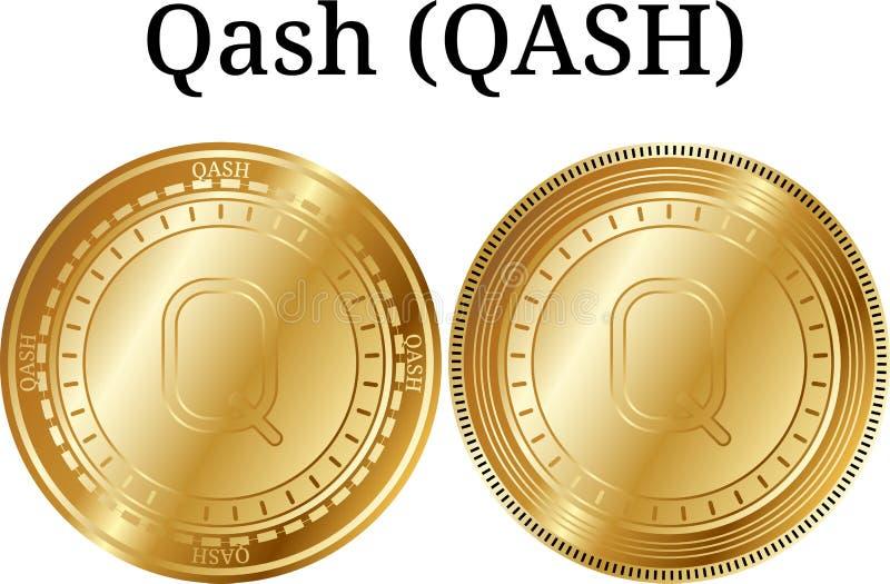Uppsättning av det fysiska guld- myntet Qash QASH, digital cryptocurrency Qash QASH symbolsuppsättning stock illustrationer