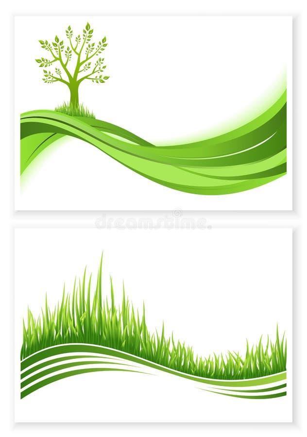 Uppsättning av det gröna begreppet för eco för träd- och grästillväxtvektor mot bakgrund field blåa oklarheter för grön vitt wisp vektor illustrationer
