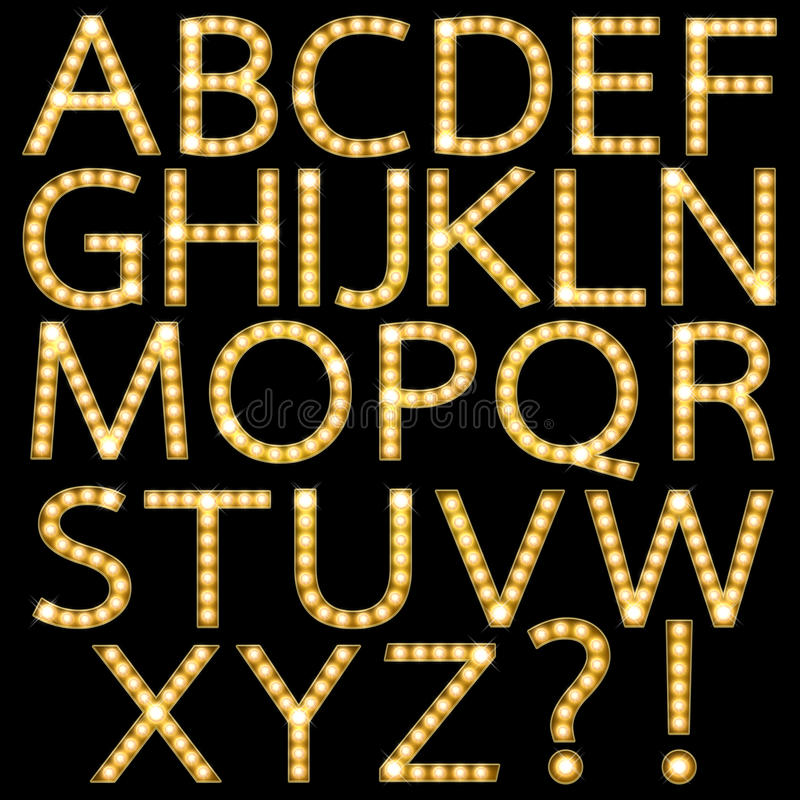 Uppsättning av det guld- alfabetet Broadway för ljus kula vektor illustrationer