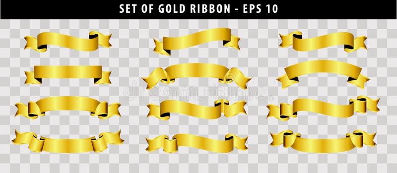 Uppsättning av det guld- bandet stock illustrationer