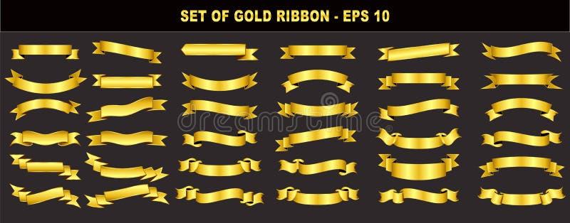Uppsättning av det guld- bandet royaltyfri illustrationer