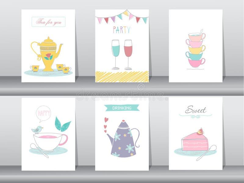 Uppsättning av det gulliga begreppet för dricka och tetidaffisch royaltyfri illustrationer