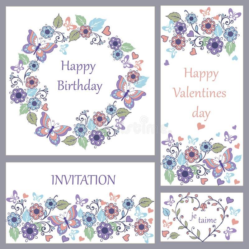 Uppsättning av det gulliga hälsningkortet med fjärilar och hjärtor för födelsedagen, bröllop, lyckönskan, inbjudan royaltyfri illustrationer