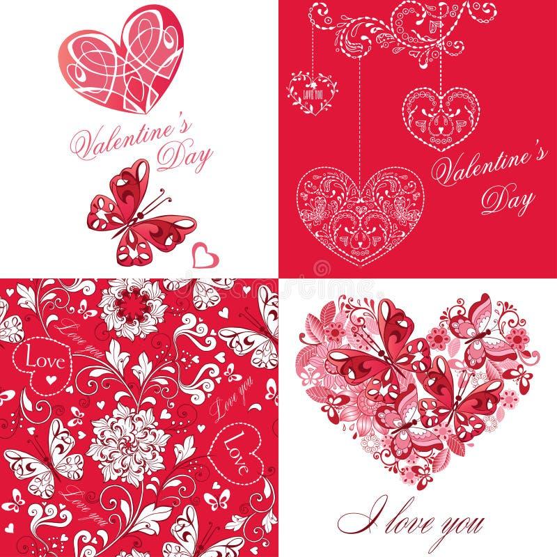 Uppsättning av det gulliga hälsningkortet med fjärilar och hjärtor På dag för valentin` s lycklig födelsedag, lyckönskan, inbjudn royaltyfri illustrationer