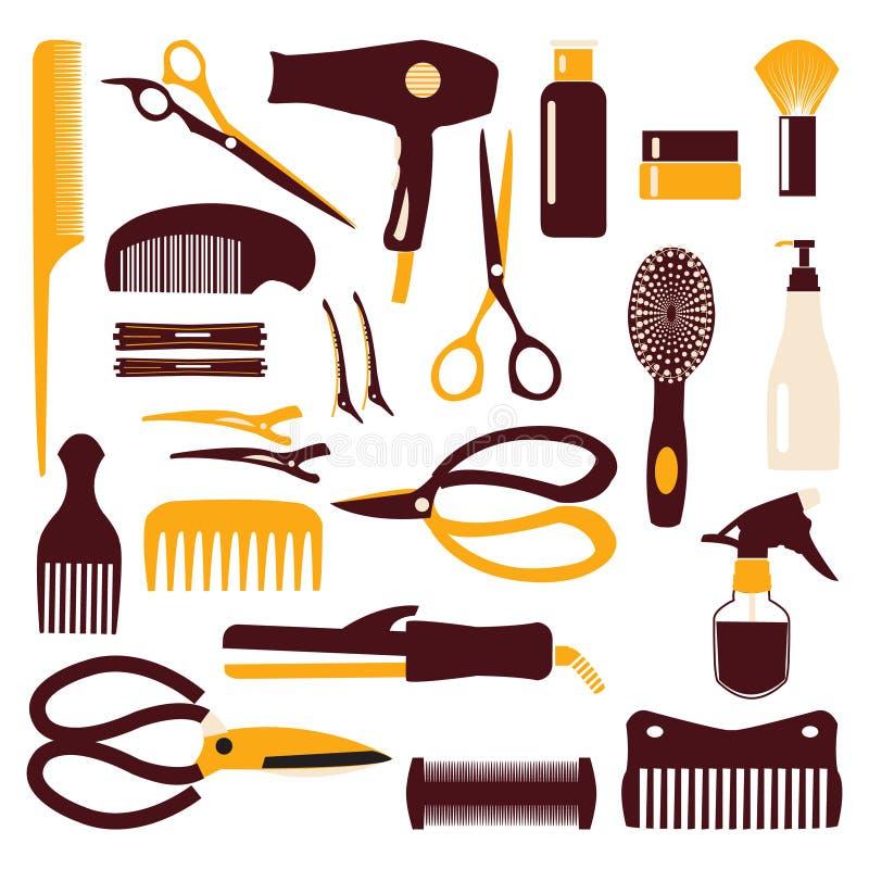 Uppsättning av det haircutting hjälpmedlet - illustration vektor illustrationer