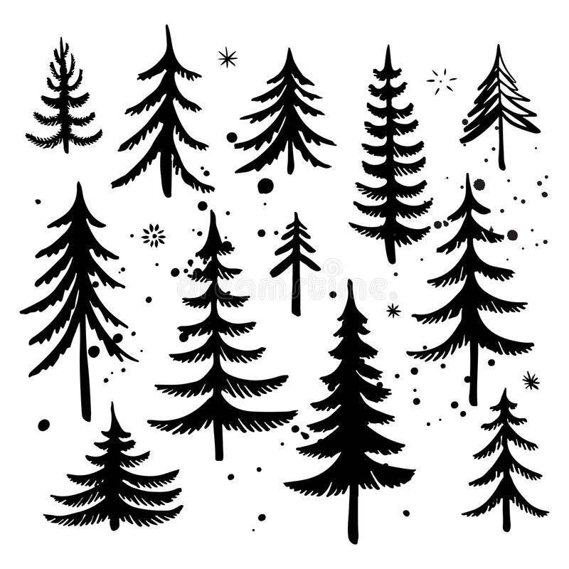 Uppsättning av det hand drog julträdet Konturer för granträd också vektor för coreldrawillustration fotografering för bildbyråer