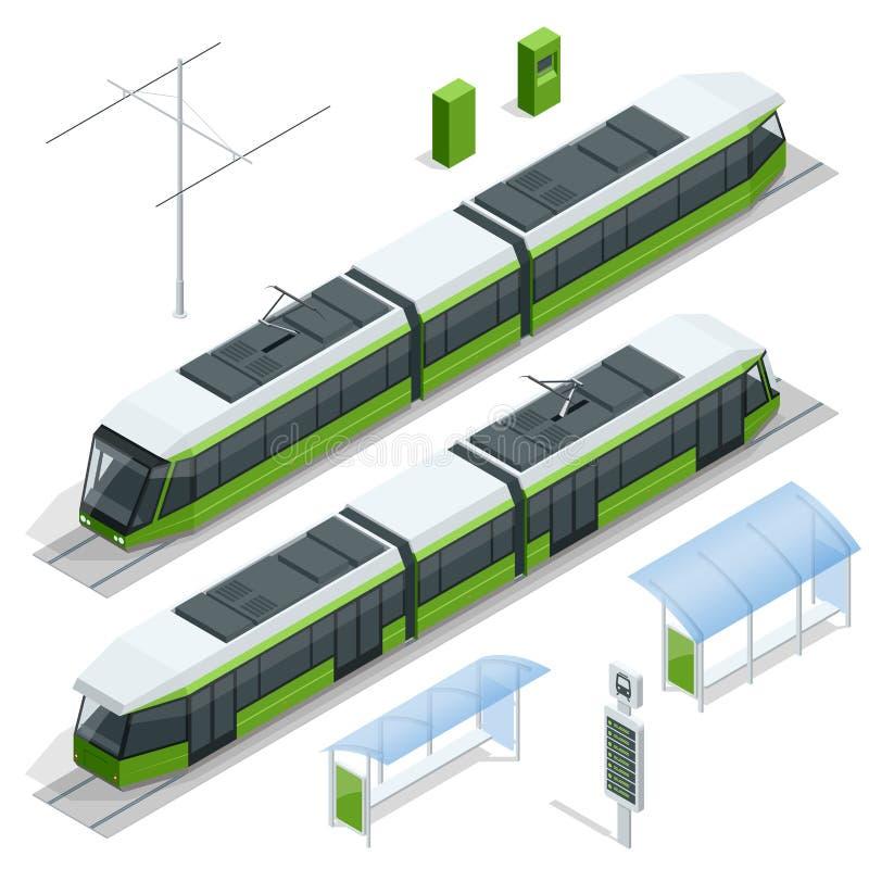 Uppsättning av det isometriska passagerarespårvagndrevet, spårvagn för transport för spårvagnstad som elektrisk isoleras på vita  royaltyfri illustrationer