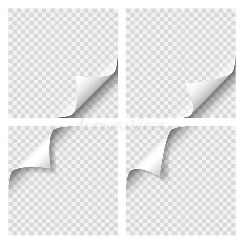 Uppsättning av det lockiga sidahörnet Tomt ark av papper med sidakrullningen med genomskinlig skugga Realistisk vektorillustratio royaltyfri illustrationer