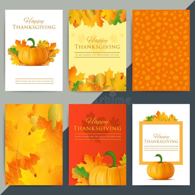 Uppsättning av det lyckliga kortet för tacksägelsedaghälsning Höstferievect stock illustrationer