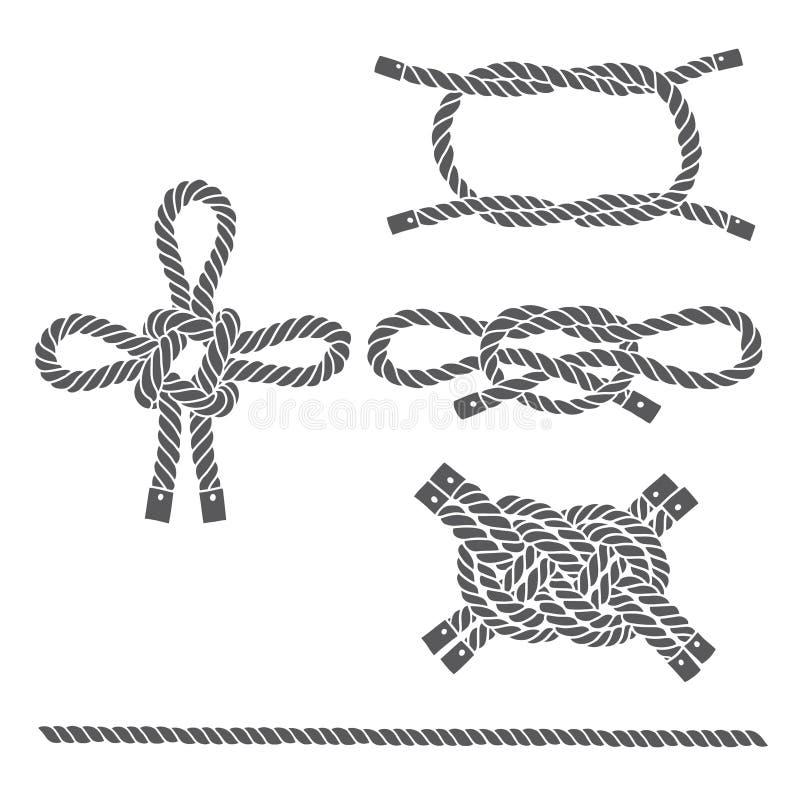 Uppsättning av det marin- repet, fnuren Vektor isolerade beståndsdelar på en vit stock illustrationer