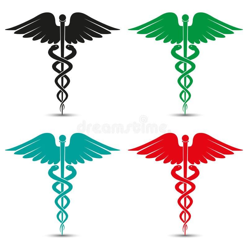 Uppsättning av det medicinska caduceussymbolet som är mångfärgat med skugga vektor illustrationer