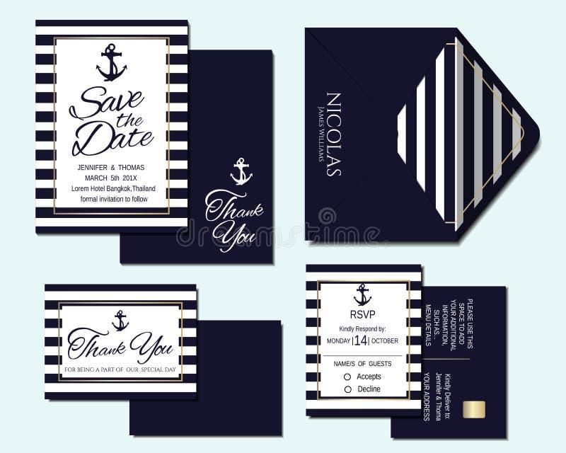 Uppsättning av det nautiska bröllopinbjudankortet royaltyfri illustrationer