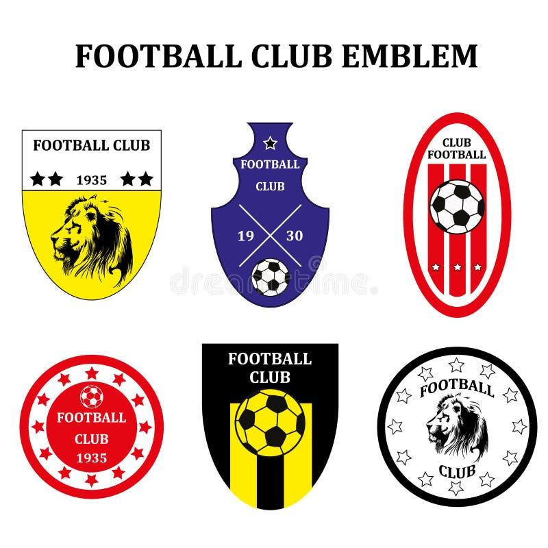 Uppsättning av det olika fotbollfotbollemblemet eller Logo Template vektor illustrationer