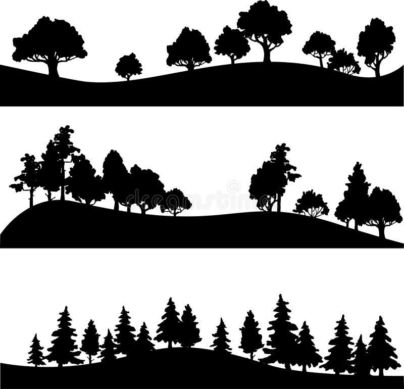 Uppsättning av det olika landskapet med träd royaltyfri illustrationer