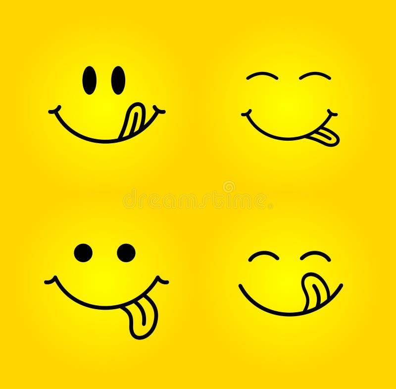 Uppsättning av det smaskiga leendet Den läckra smakliga ätaframsidan äter med gourmet- tyckande om smak för mun och för tunga Rol vektor illustrationer