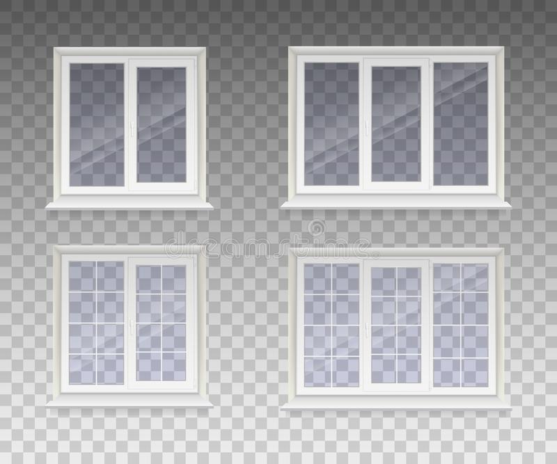 Uppsättning av det stängda fönstret med genomskinligt exponeringsglas i en vit ram isolerat på en genomskinlig bakgrund vektor vektor illustrationer