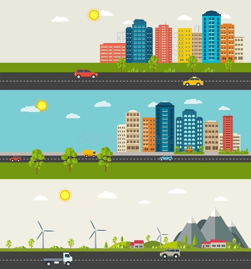 Uppsättning av det stads- och förorts- landskapet Modern byggnad av stads- liv stock illustrationer
