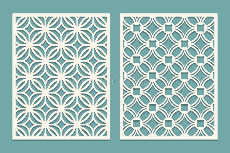 Uppsättning av det stansade kortet Bitande paneler för laser Utklippkontur med den geometriska modellen Smycka passande för utskr vektor illustrationer