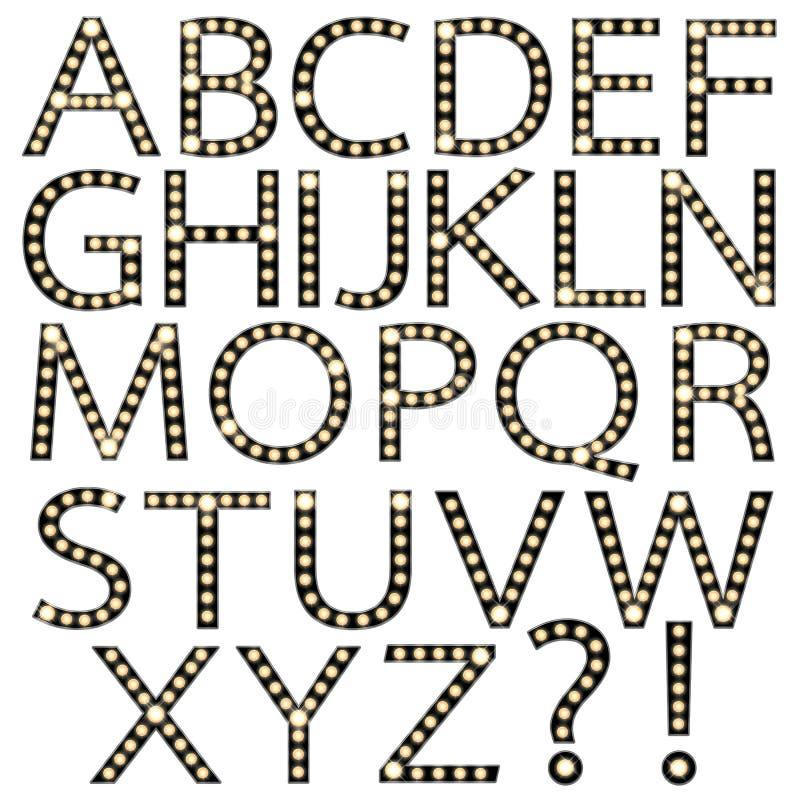 Uppsättning av det svarta alfabetet Broadway för ljus kula royaltyfri illustrationer