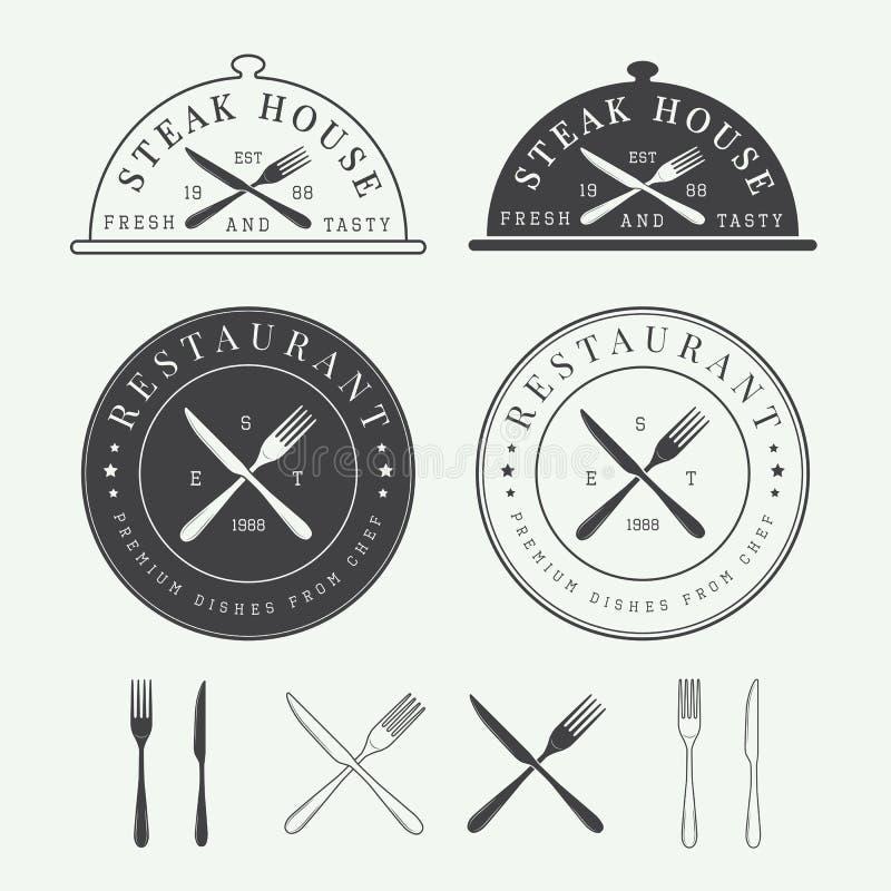 Uppsättning av det tappningrestauranglogoen, emblemet och emblemet stock illustrationer