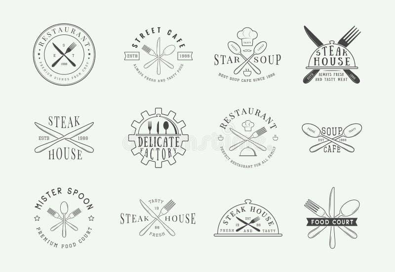 Uppsättning av det tappningrestauranglogoen, emblemet och emblemet Grafik stock illustrationer