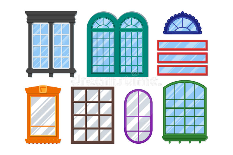 Uppsättning av detaljerade fönster för privat hus eller byggnad vektor illustrationer