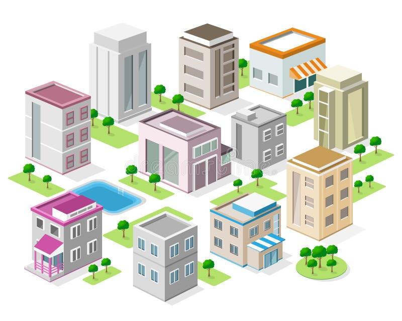 Uppsättning av detaljerade isometriska stadsbyggnader isometrisk stad för vektor 3d royaltyfri illustrationer
