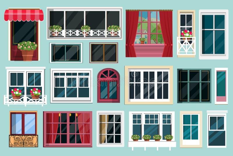 Uppsättning av detaljerade olika färgrika fönster med fönsterbrädor, gardiner, blommor, balkonger Plan stil royaltyfri illustrationer