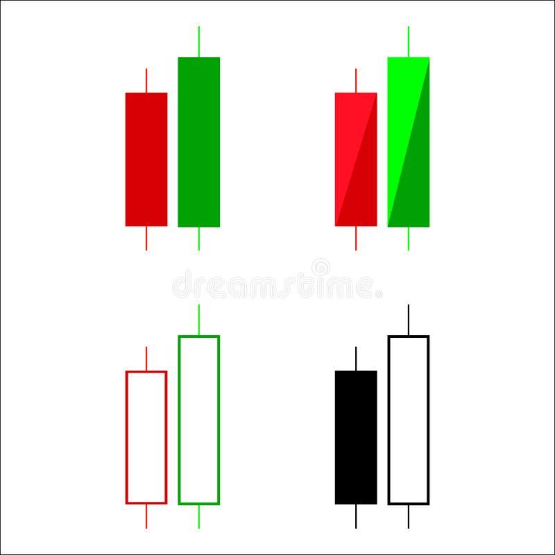 Uppsättning av diagrammet för handel för stearinljuspinnegraf som analyserar handeln stock illustrationer