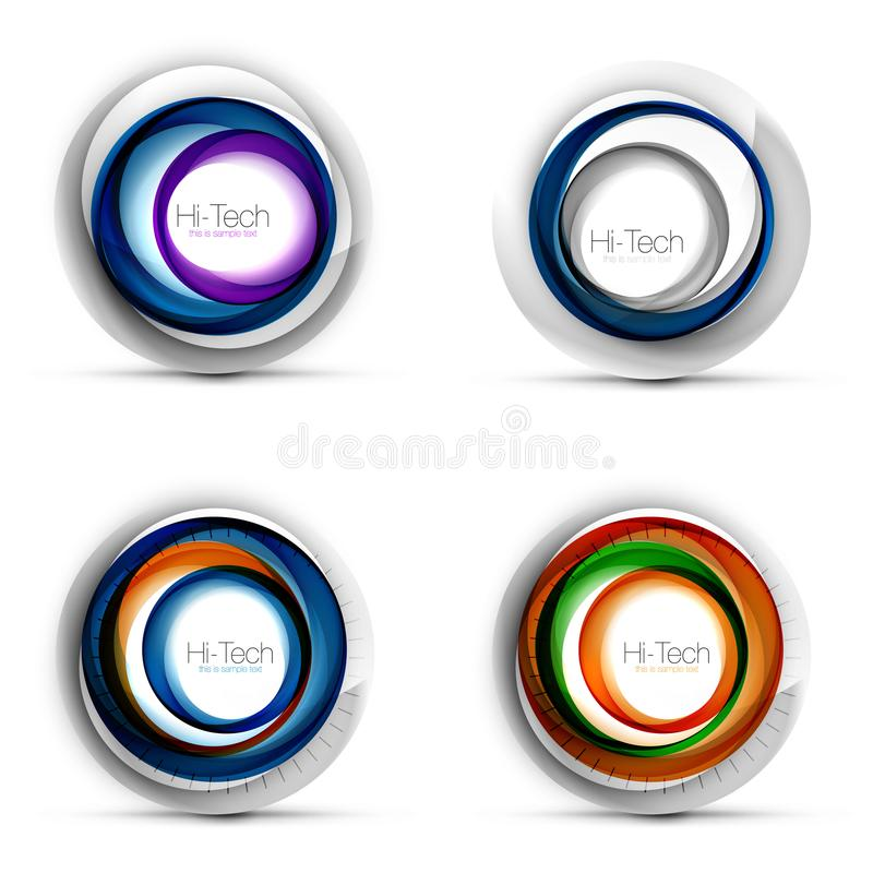 Uppsättning av digitala technosfärer - rengöringsdukbaner, knappar eller symboler med text Glansig design för cirkel för virvelfä vektor illustrationer