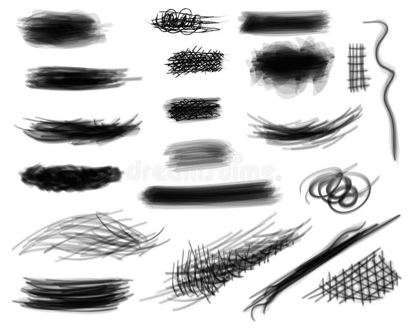 Uppsättning av digitalt hand dragit svartvitt vektor illustrationer