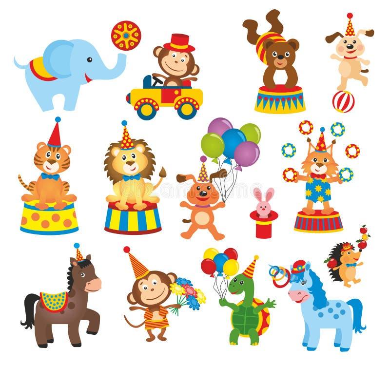 Uppsättning av djur i cirkus vektor illustrationer