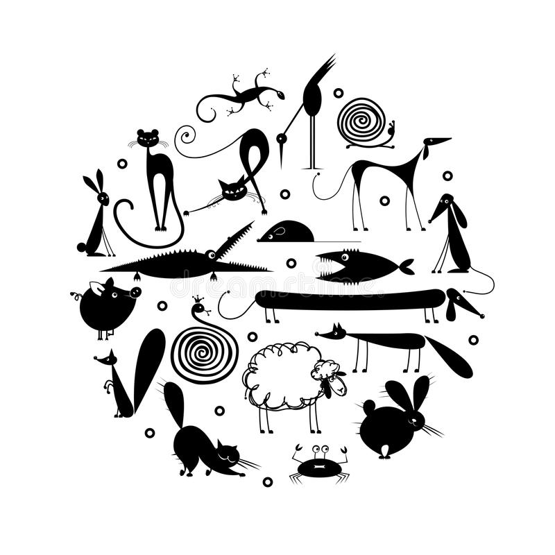 Uppsättning av 20 djur, svart kontur för ditt vektor illustrationer