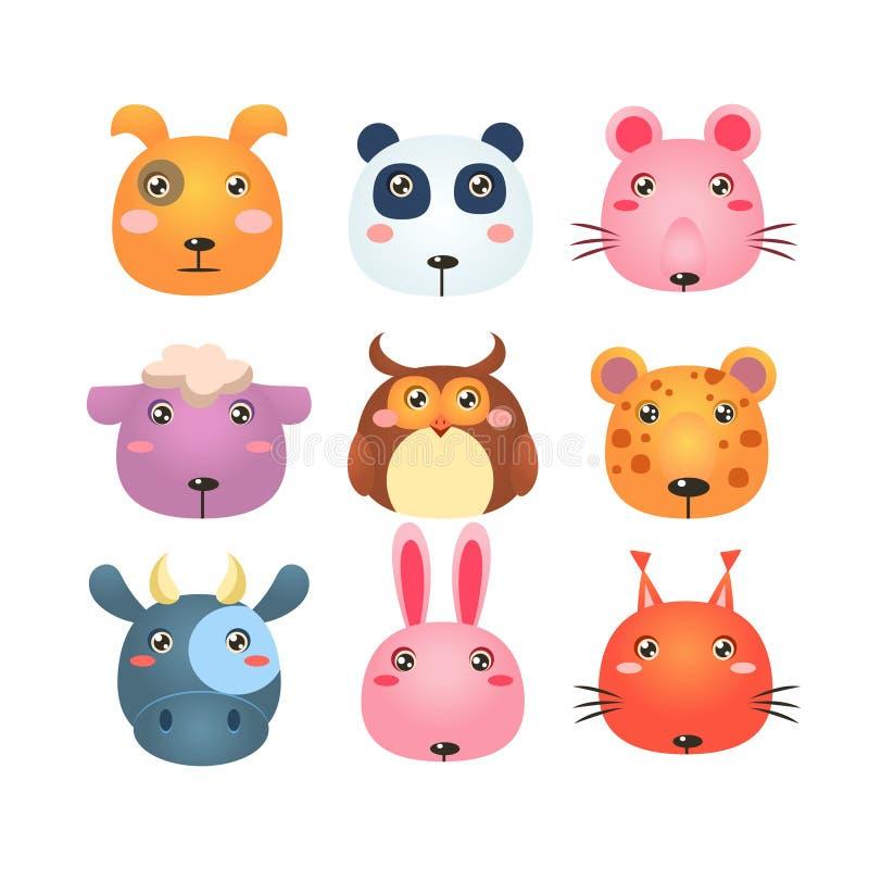 Uppsättning av djura Head symboler för tecknad film stock illustrationer