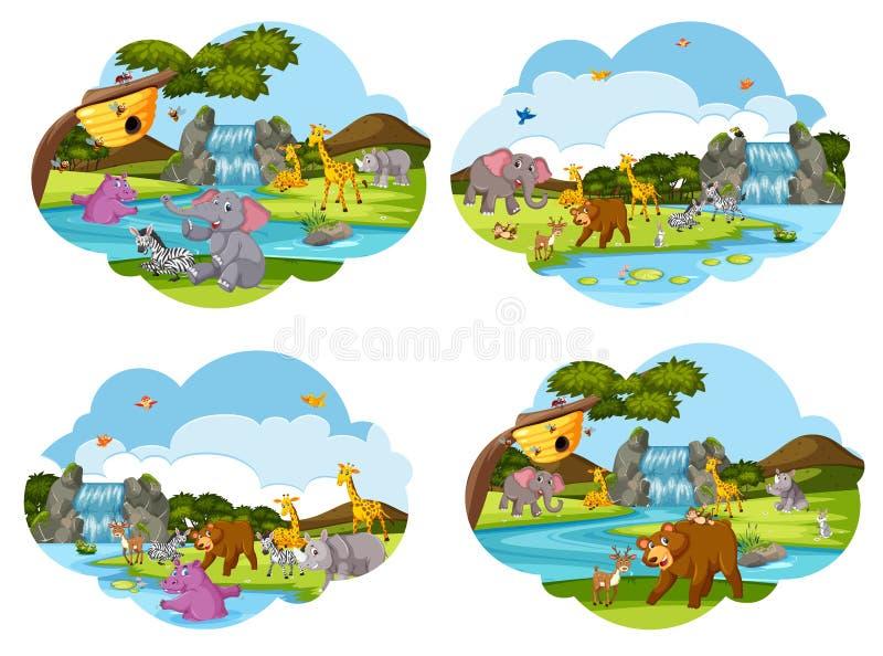 Uppsättning av djura platser royaltyfri illustrationer