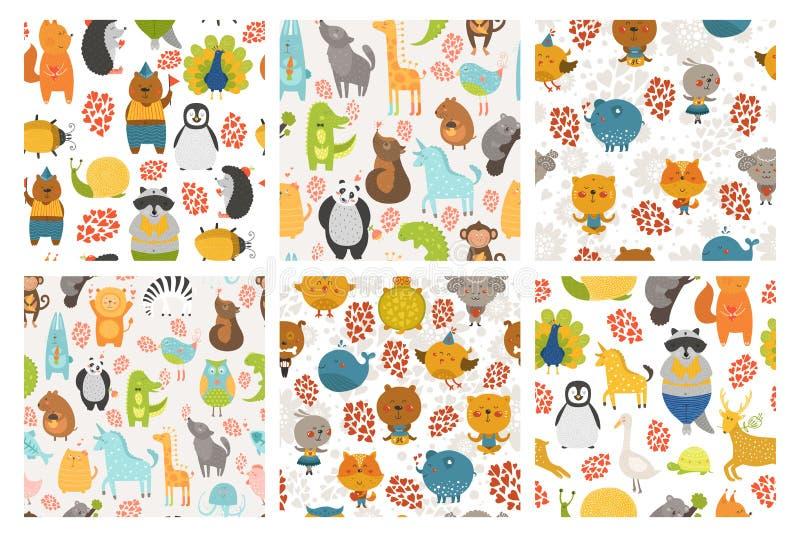 Uppsättning av djurbakgrunder vektor illustrationer