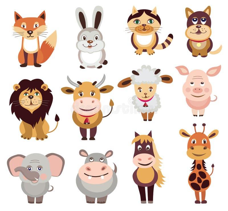 Uppsättning av djursymboler stock illustrationer