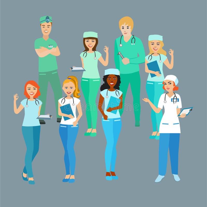 Uppsättning av doktorer medicinska arbetare Studenterna yrke stock illustrationer