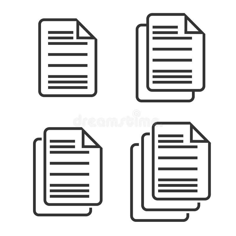 Uppsättning av dokumentsymbolen som isoleras på bakgrund också vektor för coreldrawillustration royaltyfri illustrationer