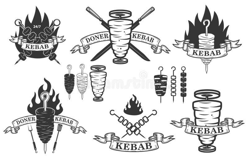 Uppsättning av donerkebabemblem Planlägg beståndsdelar för logoen, etiketten, emblemet, tecken stock illustrationer