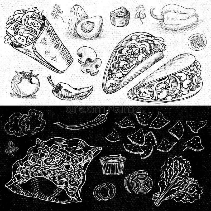 Uppsättning av dragen mat för färg krita, kryddor stock illustrationer
