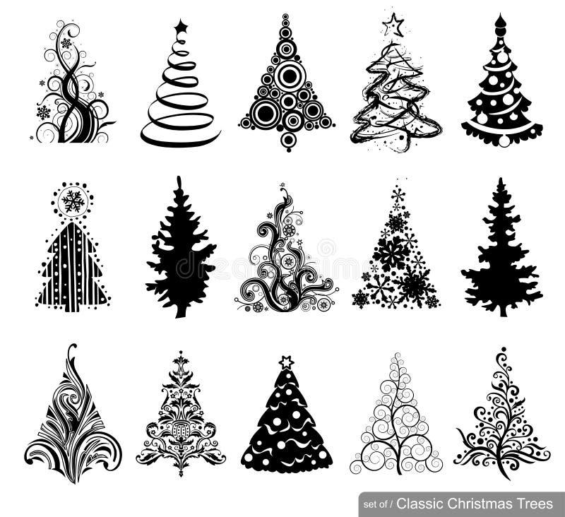 Uppsättning av Dreawn julgranar stock illustrationer