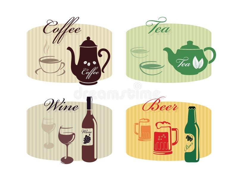 Uppsättning av drinkar - kaffe, te, vin, öl arkivbilder